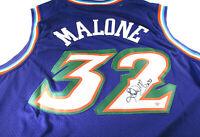 KARL MALONE / NBA HALL OF FAME / AUTOGRAPHED UTAH JAZZ PRO STYLE JERSEY / COA