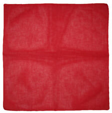 "Wholesale Lot of 12 Red Plain Solid Color 100% Cotton 22""x22"" Bandana"