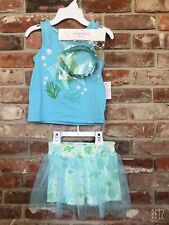Tommy Bahama Girls Sequin Fish Short Set 3 Piece Skirt Skort Outfit Size S 5/6