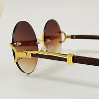 Fashion Gold Metal Brown Wood Migos Buffs Rap Hip-hop Shades Round Sunglasses