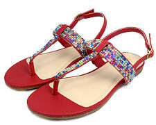 JOSALYN-22 T-Strap Thong Toe Gladiator Flats Sandals Bead Women Shoes Red 9