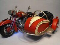 MODEL TINPLATE MOTORBIKE AND SIDE CART RETRO VINTAGE LARGE SIZE MOTORCYCLE GIFT