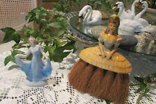 Vintage Half doll related Dresser Lady Brush and Figurine