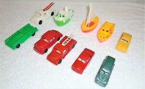 Vintage Old Plastic Toy Car & Boat Lot - 10 Pieces -  USA & ?? - Marx - Matchbox