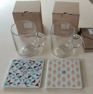 Nespresso Vertuo Glass Coffee Mug New in Box with Gift Porcelain Coaster Sets