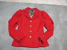 NEW Ralph Lauren Polo Wool Blazer Womens Size 10 Red Gold Buttons Jacket Coat