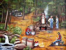 "Primitive America Folk Art Print 12 x 16"" Moonshine NC Arie Taylor"