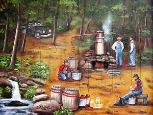 Primitive America Folk Art Print Moonshine NC Arie Taylor