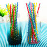 10 Pc colorful Reusable Hard Plastic Stripe drinking Straws party decoration