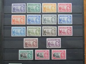 St Helena Complete KGVI Mint Stamp Sets to 10/- (1938/49): SG131–140 & SG149-151
