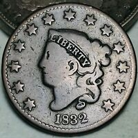 1832 Large Cent Coronet Head 1C Higher Grade Choice Good US Copper Coin CC6297