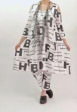 ♦ Chalona Buchstaben-Kleid Gr. 44,46,48/50, offene Schultern, weiß-schwarz ♦