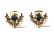 9ct Gold Sapphire Studs Scottish Thistle earrings Gift Boxed Made in UK