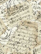 Elegant Sheet Music, Swirls, on Parchment, Music Timeless Treasures (By 1/2 yd)