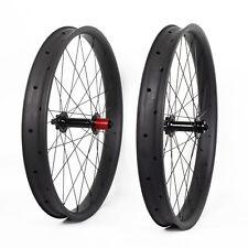 65mm Carbon Fat Bike Wheel Clincher Thru Axle UD Matt MTB Disc Beadless Rim 26er