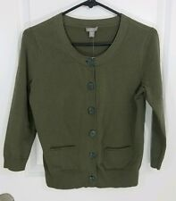 J.Jill Women's Button Front Cardigan Size XS Olive Green Stretch Sweater NWT