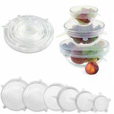 AU 6PCS Stretch Reusable Silicone Bowl Wraps Food Saver Cover Seal Insta Lids OZ