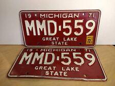 1971 or 1972 Michigan Passenger Car License Plates - Set of 2 - MMD-559