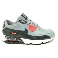 Nike Air Max 90 Youth Size 7Y Gray Black Red Leather Running Sneakers