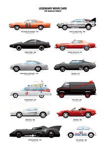 Legendary Movie Cars Poster Print > Ecto-1 > Delorean > Knight Rider > A-Team 🍿
