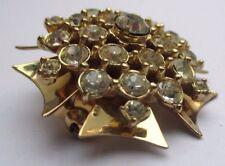 Belle broche couleur argent pendentif bijou vintage rare cristaux diamant 2629