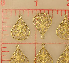 144 Gold color filigree thin metal 20mm x 15mm pear drop pendants