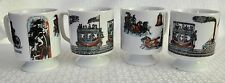4 Pedestal Mugs FIREFIGHTERS Horse Drawn Engine, STEAM TRAIN Railroad Carriage