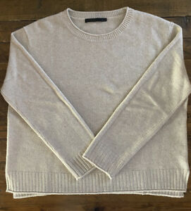 Jenni Kayne Womens Everyday Sweater In Oatmeal- Size L Pullover Crew Neck
