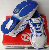 New Taylor Men's  Ultrx Lawn Bowls Shoe white mesh Royal trim size 6 UK - 13 UK