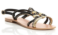 DUNE Black & Gold Real Leather 'JUICY' Multi Strap Plaited Sandal - UK 4