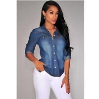 2016 Blue Stylish Women Long Sleeve Jean Denim Shirt Tops Vintage Lapel Blouse C