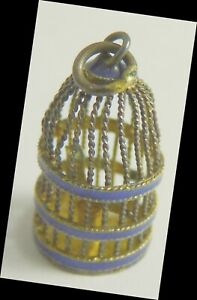 Bird in Cage Silver Charm Vintage blue enamel decorated