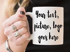 11oz Personalized Coffee or Tea Mug White Custom Photo Text Logo Gift New