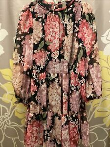 H&M Trend Conscious Short Chiffon Light  Pink Floral Dress XS Fits (S,M) Stretch
