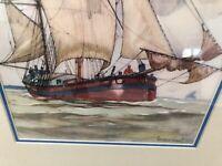 framed matted vintage Gordon Grant print water sailing ship sea ocean