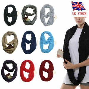 Women Lady Fashion Winter Thermal Active Infinity Scarf With Zip Pocket UK