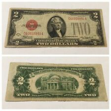 VINTAGE 1928-D $2 UNITED STATES NOTE TWO DOLLAR BILL JEFFERSON RED SEAL DOLLARS