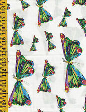 The Very Hungry Caterpillar Cotton quilt fabric by Andover BTY Butterflies White