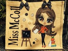 JUTE  PERSONALISED HAND PAINTED TEACHERS BAG ANY NAME OR DESIGN GREAT GIFTS