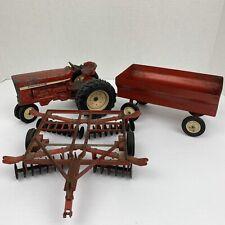 Vintage Ertl International Harvester Tractor With Disc Harrow Plow & Trailer