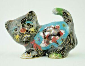 """Vintage - Decorative Ornate Cloisonné Enamel Cat - Painted Brass - 3.5"""""""