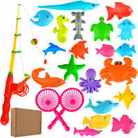 1Set Fishing Rod Magnetic Fish Net Game Set Educational Toy Kids Baby Bath Time