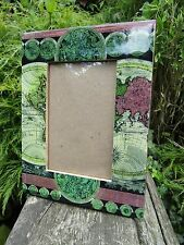 Fair Trade Hand Carved Made Wooden Antique World Map Photo Display Frame Holder