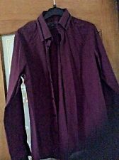 Men's river island purple long sleeved button front shirt with collar size xs