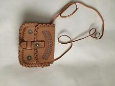 Ladies true vintage small cross body beige faux leather bag