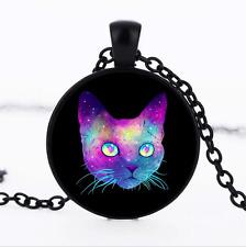 Galaxy Cat Colorful Black/Bronze/Tibet silver GlassDome chain Pendant Necklace