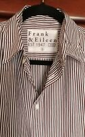 NWOT Frank & Eileen Mens Button Down Shirt Black & White Stripes