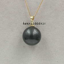 WEDDING NOVEMBER 18 MM BLACK GREEN  SOUTHSEA MOTHER-OF SHELL PEARL PENDANT