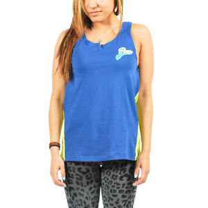 Women's PUMA Logo Tank Top Mazarine Blue-Lime Punch size L $24