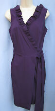 DIANE VON FURSTENBERG~8~Plum Purple HAMPTON Ruffled Sleeveless Wrap Dress
